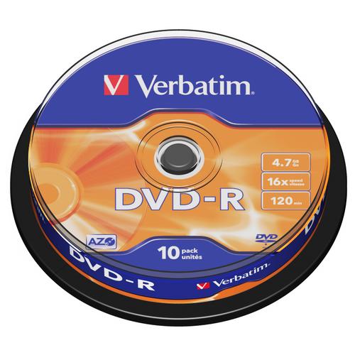 Диск DVD-R Verbatim 4.7Gb 16x AZO 10 шт. cake box