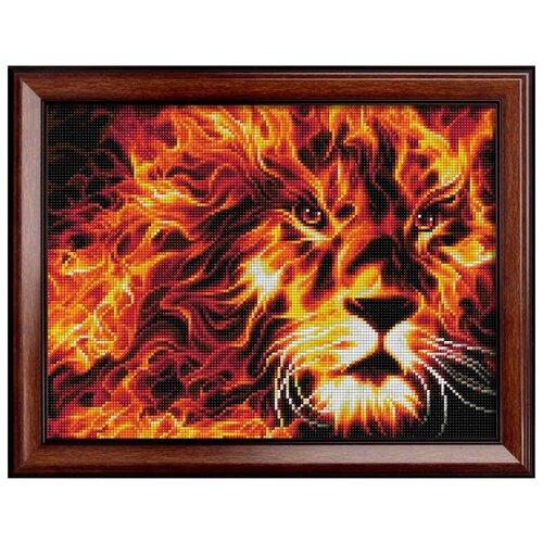 Купить АЖ-1851 Картина стразами 'Огненный лев' 40*30см, Алмазная живопись, Алмазная вышивка