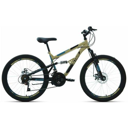 Подростковый горный (MTB) велосипед ALTAIR MTB FS 24 Disc (2020) бежевый/черный 14.5 (требует финальной сборки)