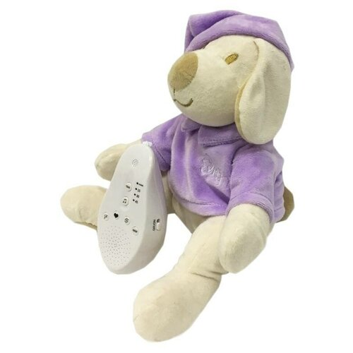 Фото - Мягкая игрушка Drёma BabyDou Собачка фиолетовая с белым и розовым шумом комфортеры drema babydou медведь с белым и розовым шумом 20 см