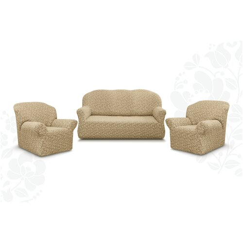 Чехлы без оборки Евро Престиж дизайн 10034 на Диван+2 Кресла, капучино