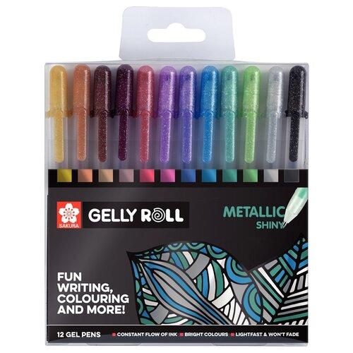 SAKURA набор гелевых ручек Gelly Roll Metallic 1 мм, 12 цветов (POXPGBMET12) artspace набор гелевых ручек совята 12 цветов 1 0 мм