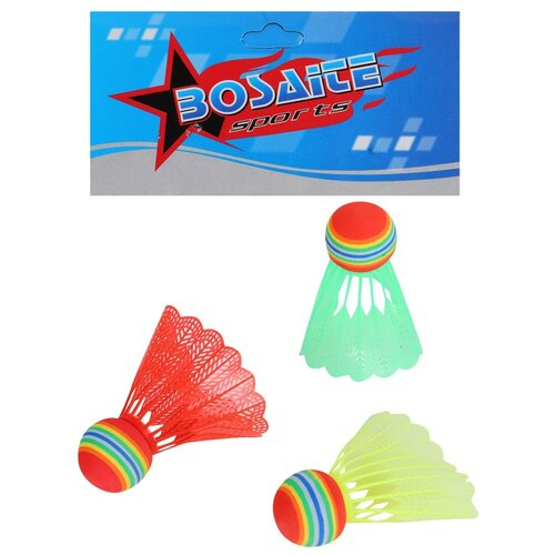 Волан пластиковый, воланчик, для игры в бадминтон, разноцветный, аксессуар для игры в бадминтон, для игры на воздухе, для игры на улице, в комплекте 3 шт, в/п 16х11х3 см