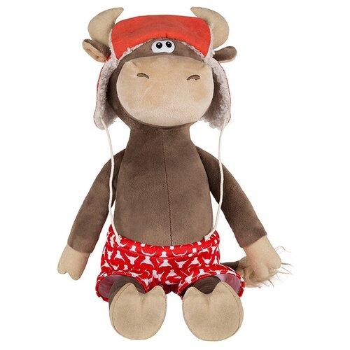 Мягкая игрушка Maxitoys Бычок Федот в шапке-ушанке и красных трусах 23 см