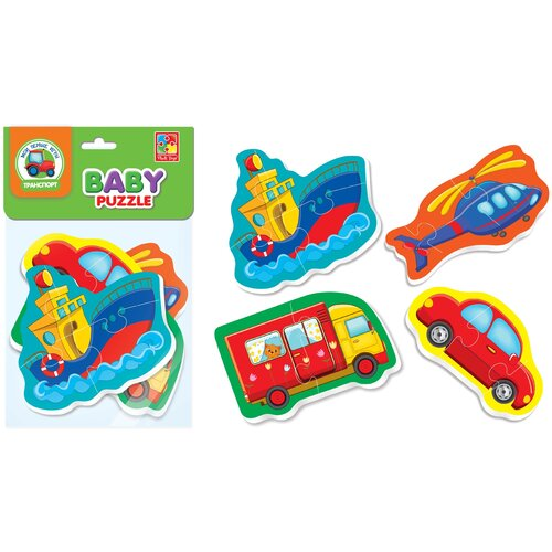 Купить Мягкие пазлы Baby puzzle Транспорт 4 картинки, 12 эл., Vladi Toys, Пазлы