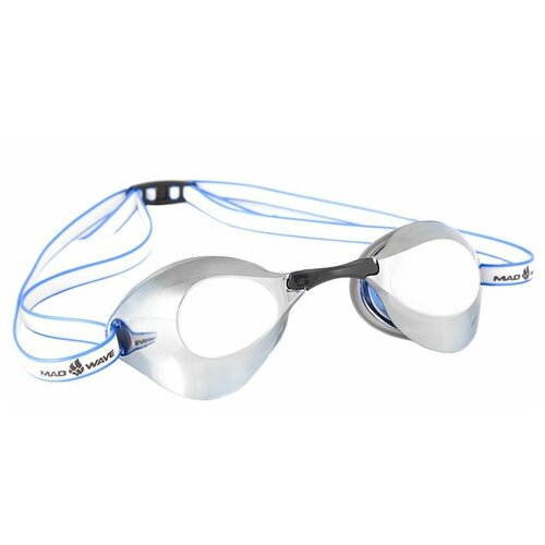 Очки для плавания MAD WAVE Turbo Racer II Mirror, синий очки для плавания mad wave turbo racer ii black orange