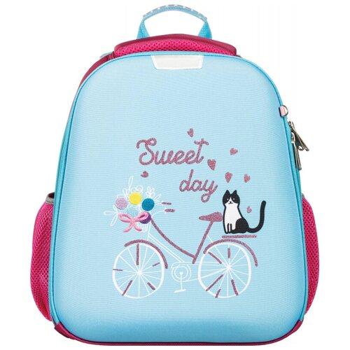 Купить Ранец №1School Basic Кот на велосипеде, 2 отд., эргоном. спинка, №1 School, Рюкзаки, ранцы