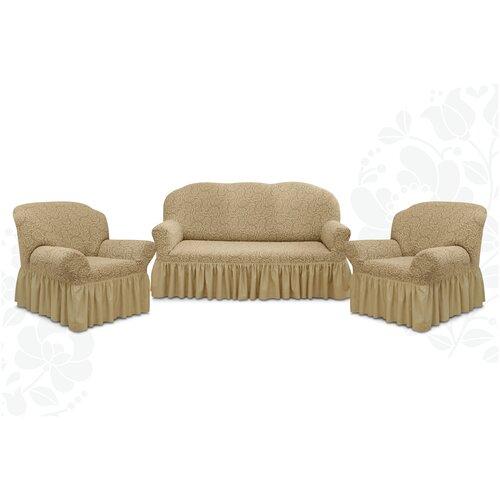Чехлы с оборкой Евро Престиж дизайн 10029 на Диван+2 Кресла, капучино