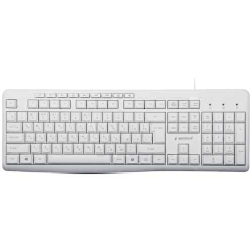 Клавиатура проводная Gembird KB-8430M white (USB., 113 кл, м/медиа, кабель 1,5м) (KB-8430M)