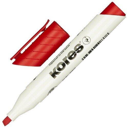 Купить Маркер для досок KORES красный 3-5 мм скошенный наконечник 20857 3 штуки, Маркеры