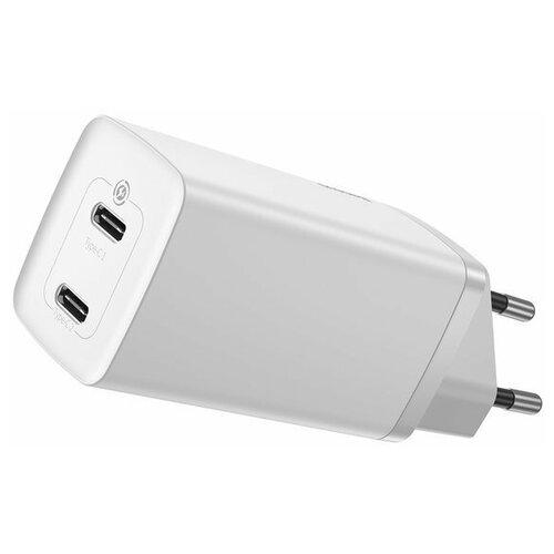 Сетевое зарядное устройство быстрое Baseus GaN2 Lite Quick Charger C+C (USB Type-C x2) 65W EU (CCGAN2L-E02) Белое сетевое зарядное устройство xiaomi mi zmi zpower trio charger max 65w 2 type c 1 usb a 1m cable type c type c eu ha932 черный