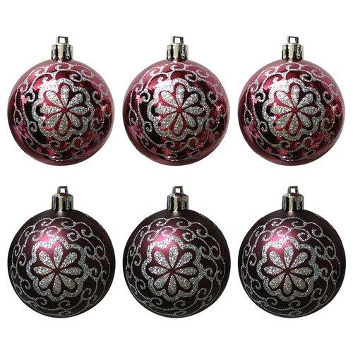 Набор елочных шаров Волшебная страна Цветок 007497/007498, бордо, 6 см, 6 шт.