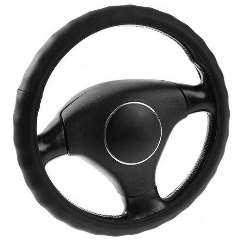 Оплётка на руль Lavita, размер М, 40 см, кожаная, черная 2691568