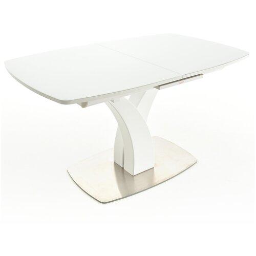 Стол Аврора Нотр-Дам белый, стекло белое, 140/171,5х85х76 см