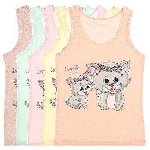 Купить Майка для девочек 49520GR, Цвет: Микс, Размер: 6/7, 5шт. в упаковке, Donella, Белье и купальники