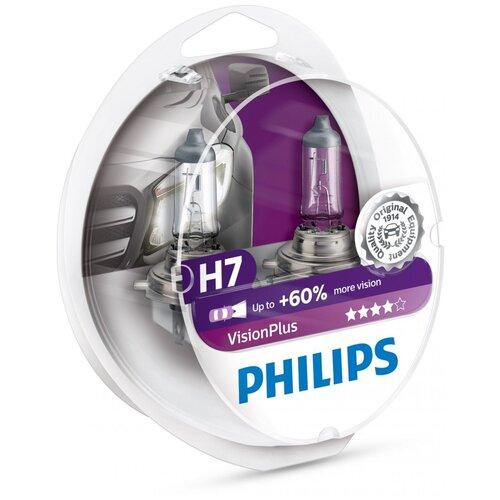Лампа автомобильная галогенная Philips Vision Plus 12972VPS2 H7 55W 2 шт. автомобильная лампа h7 55w white vision 2шт w5w 2шт philips