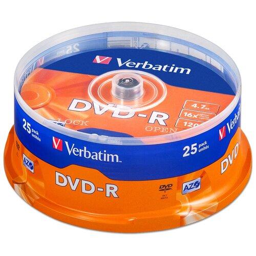 Фото - Диск Verbatim DVD-R 4,7Gb 16x cake 25 носители информации dvd r 16x verbatim azo matt silver cake 25 43500