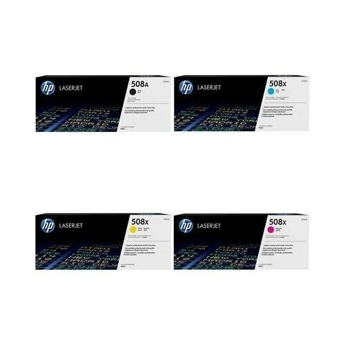 Фото - HP CF362X-CF363X-CF361X-CF360A Картриджи комплектом 508X, 508A полный набор повышенной емкости (High Yield) CMYK:9.5K, BK:6K стр. [выгода 2%] для LaserJet M552dn M552, M553dn M553, M553n, M553x, M577c M577, M577dn, M577f hp m0j98ae m0j94ae m0j90ae m0k02ae картриджи комплектом 991x полный набор повышенной емкости cmyk 16k bk 20k стр [выгода 2