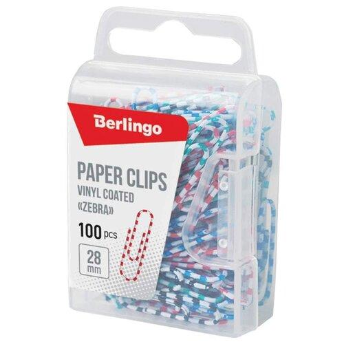 Купить Berlingo Скрепки Зебра 28 мм (DBs_28140), 100 шт. (100 шт.) ассорти, Скрепки, кнопки