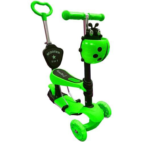 Фото - Самокат-беговел для малышей 21st Scooter 5 в 1 Божья Коровка Музыкальный, зеленый беговел 700kids a1 сompetitive small scooter черно желтый cr02a