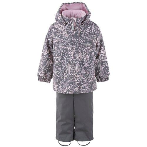 Купить Комплект с полукомбинезоном KERRY Holly K21013 размер 98, 03901 розовый/серый, Комплекты верхней одежды