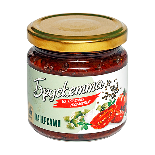 Фото - Брускетта из вяленых томатов с каперсами, 190г ECOFOOD tomtom брускетта из вяленых томатов с кедровыми орешками 140 г