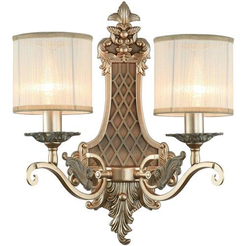 Настенный светильник Favourite Seraphima 2307-2W, E14, 80 Вт, кол-во ламп: 2 шт., цвет арматуры: золотой, цвет плафона: белый