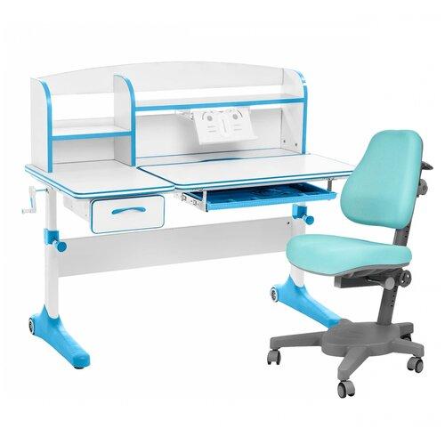 Комплект Anatomica Smart-50 парта + кресло + надстройка + подставка для книг 120x60 см белый/голубой/голубой комплект anatomica smart 60 парта study 120 lux кресло armata duos надстройка органайзер ящик клен серый зеленый