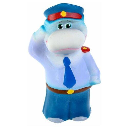 Купить Игрушка для ванной Кудесники Бегемот-полицейский (CИ-514) синий/голубой, Игрушки для ванной