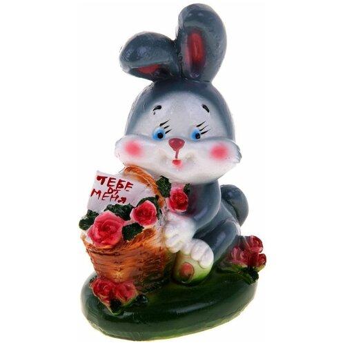 Копилка Хорошие сувениры Кролик с корзиной роз, гипс 17см (435647) разноцветный