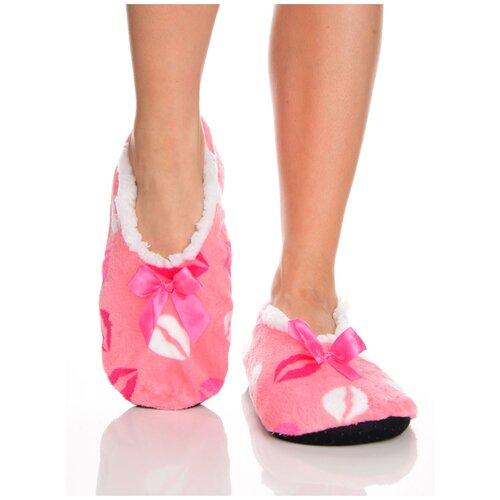 Плюшевые домашние носки на нескользящей подошве, внутренний подклад из искусственного меха, принт цветные губы - поцелуйчики, светло-розовый цвет, размер 35-38