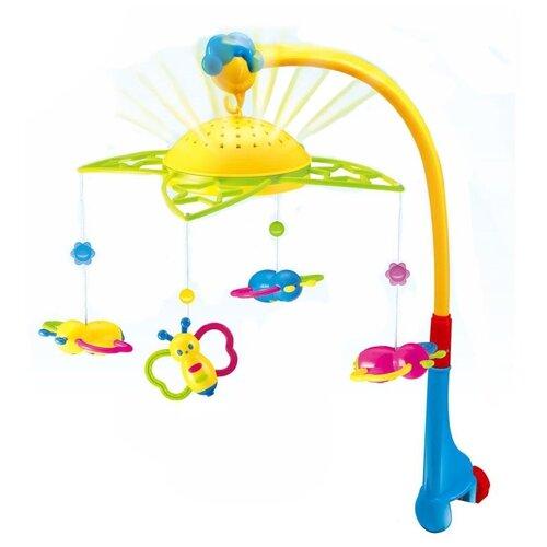 Купить Электронный мобиль Junfa toys Пчелки SL81001A голубой/желтый/зеленый, Мобили