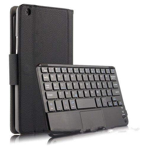 Клавиатура Mypads для HUAWEI MediaPad M5 Lite 8 64Gb LTE / HUAWEI MediaPad M5 Lite 8 64Gb WiFi съёмная беспроводная Bluetooth в комплекте c кожаным чехлом и пластиковыми наклейками с русскими буквами