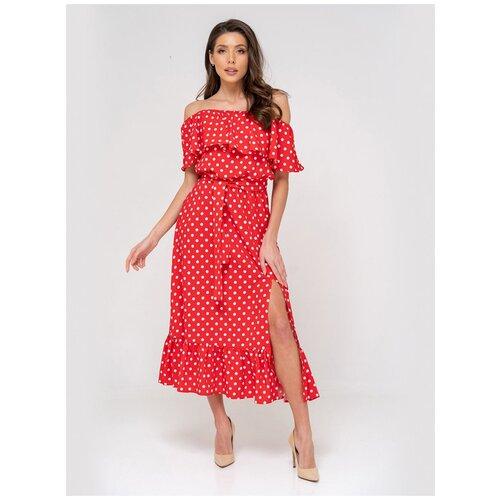 Платье сарафан в горох, открытые плечи с воланом, юбка колокольчик с воланом, красный цвет, размер XS