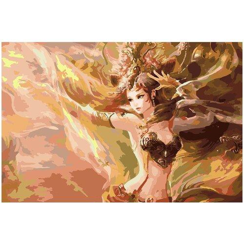 Купить Картина по номерам Девушка золотистая, 80 х 100 см, Красиво Красим, Картины по номерам и контурам