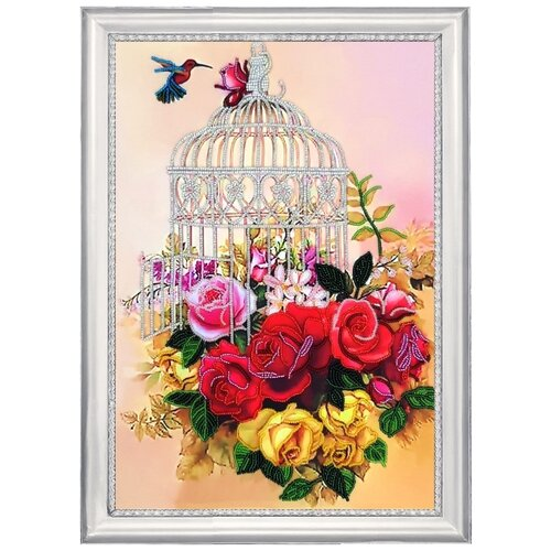 Купить Набор для вышивания BUTTERFLY 136 Клетка в розах 36х25 см, Наборы для вышивания