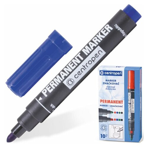 Купить Маркер перманентный CENTROPEN 8566, синий, круглый наконечник, 2, 5 мм, 5 8566 0106, 6 шт., Маркеры