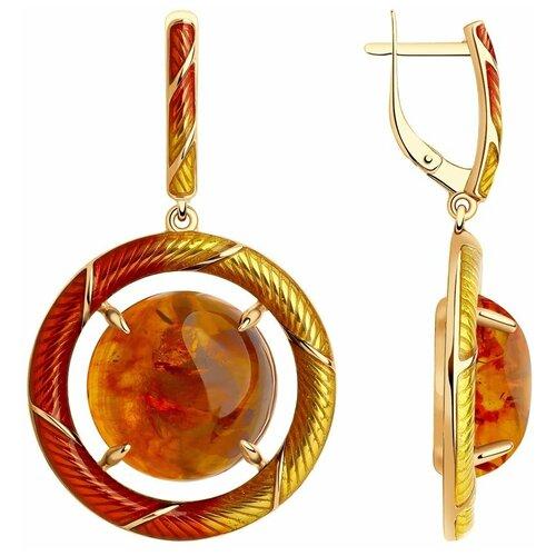 Diamant Серьги из золочёного серебра с и эмалью и янтарём 93-321-00831-2