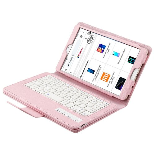 Клавиатура Mypads для Apple iPad (2019) 10.2 / Apple iPad (2020) 10.2 съемная беспроводная Bluetooth в комплекте c кожаным чехлом и пластиковыми наклейками с русскими буквами