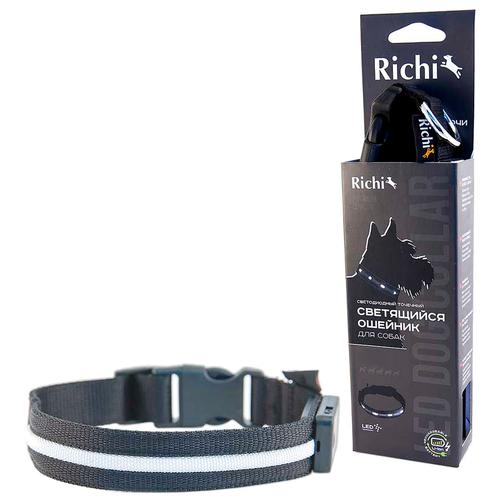 Ошейник Richi Led нейлоновый L, USB 45-48 см черный