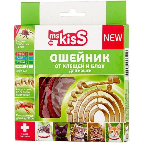 Ms.Kiss ошейник от блох и клещей New для кошек и котят, 38 см, красный