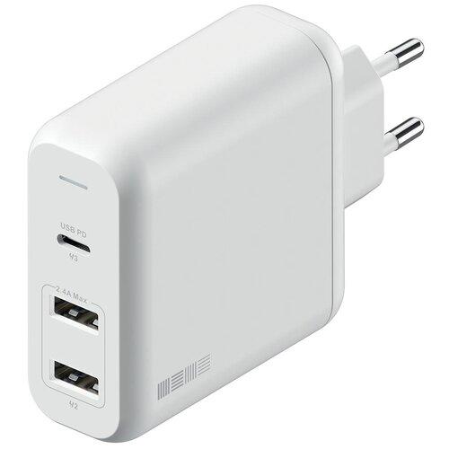 СЗУ PD60Вт(USB-C(PD) + 2*USBA), белый + магн кабель TypeC-TypeC,2.0м т-серый