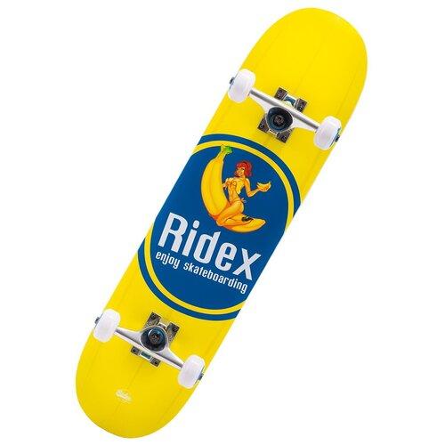 детский скейтборд navigator т20013 синий желтый Скейтборд Ridex Banjoy 31.1, 31.1x7.75, желтый/синий