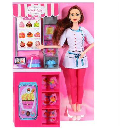 Купить Кукла для девочек Продавец игрушечной кондитерской , в комплекте кукла, прилавок, полочки и аксессуары, в/к 22*5, 6*32, 5 см, Компания Друзей, Куклы и пупсы
