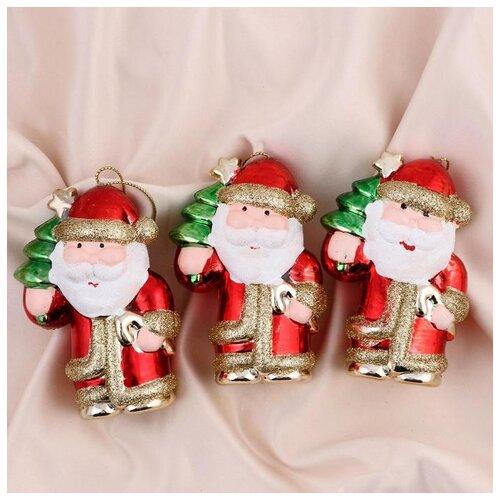 Украшение ёлочное Дед Мороз с леденцом 6,5х10 см (набор 3 шт) 5012975