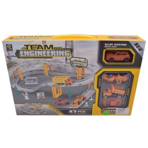 Игровой набор Автотрек, в комплекте: деталей 43шт, транспорт металлический 3шт, Машина электрифицированная, эл.пит.АА*1шт.не вх.в комплект Shantoy Gepay 696-2A