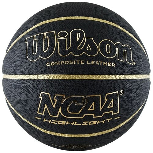Мяч баск. WILSON NCAA Highlight Gold, арт.WTB067519XB07, р.7, композит, бут.камера, черно-золотистый