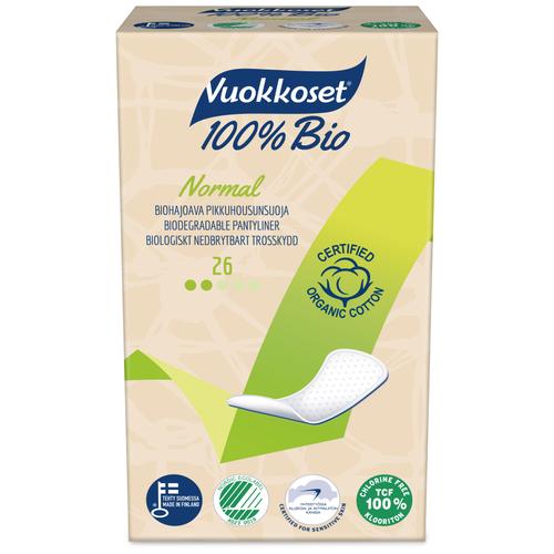 Купить Vuokkoset прокладки ежедневные 100% Bio Normal, 2 капли, 26 шт.