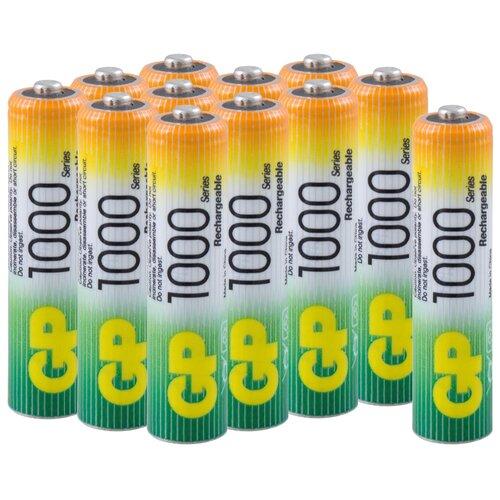 Фото - Аккумуляторная батарейка GP, типоразмер ААА (HR03) 1000 мАч, набор 12 шт. аккумуляторы gp 1000 мач в комплекте с зарядным устройством адаптером 1а и кабелем
