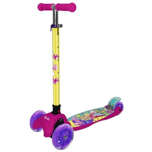 детский скейтборд navigator т20013 синий желтый Детский кикборд Navigator Т14759 Barbie, желтый/розовый/фиолетовый